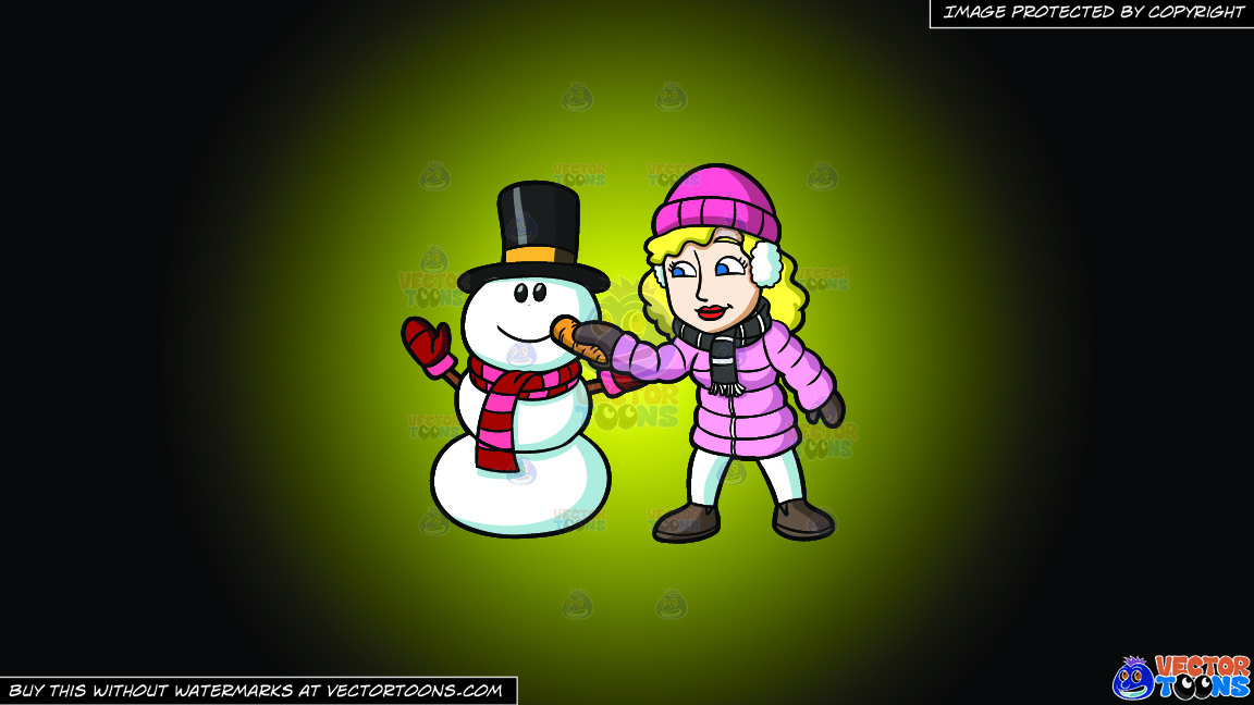 A Woman Placing A Carrot Nose On The Snowman On A Yellow And Black Gradient Background thumbnail