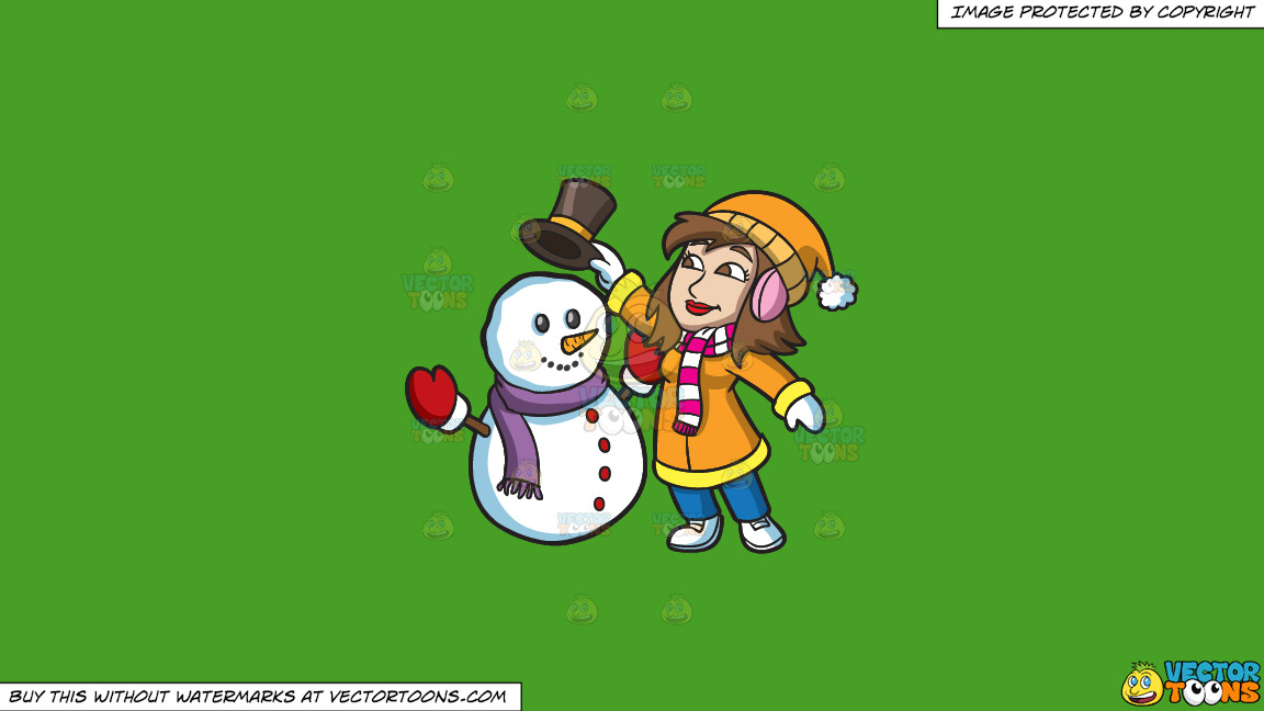 A Woman Placing A Hat On A Snowman On A Solid Kelly Green 47a025 Background thumbnail