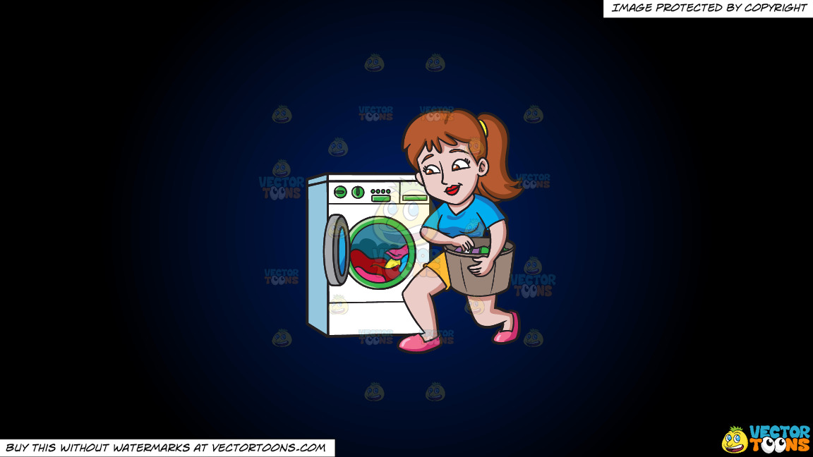 A Woman Placing Clothes In The Washing Machine On A Dark Blue And Black Gradient Background thumbnail