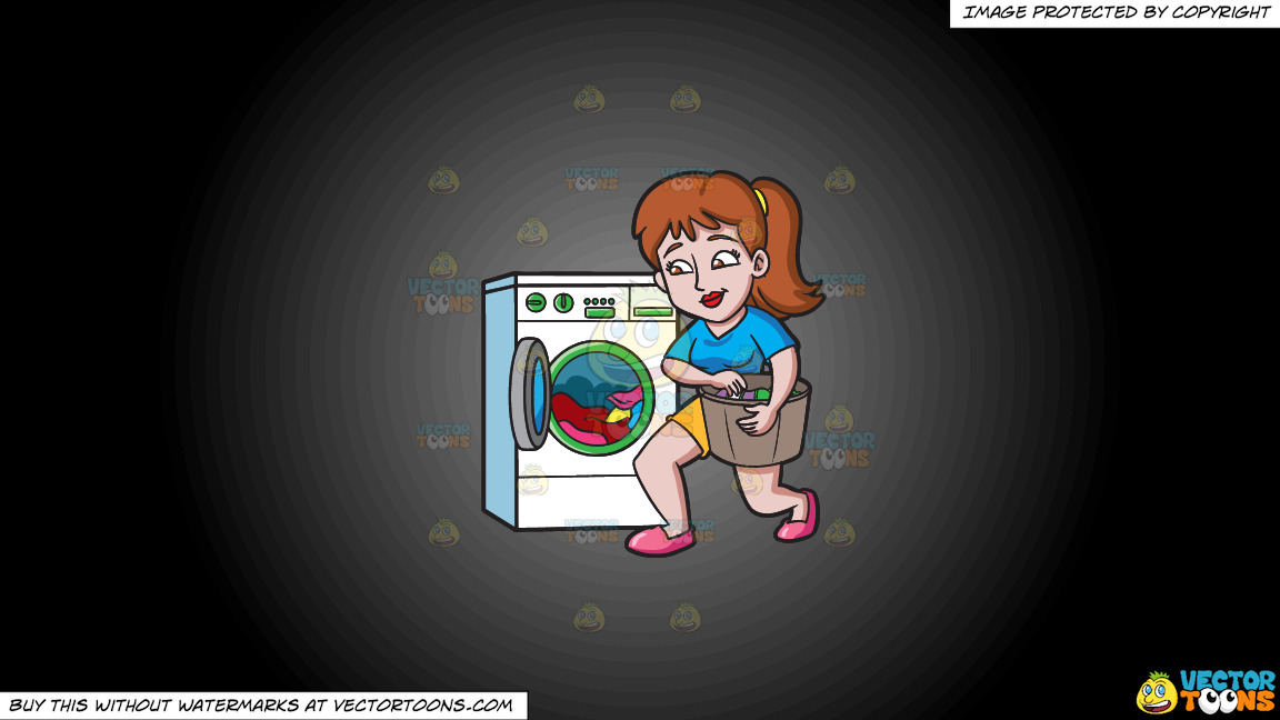 A Woman Placing Clothes In The Washing Machine On A Grey And Black Gradient Background thumbnail