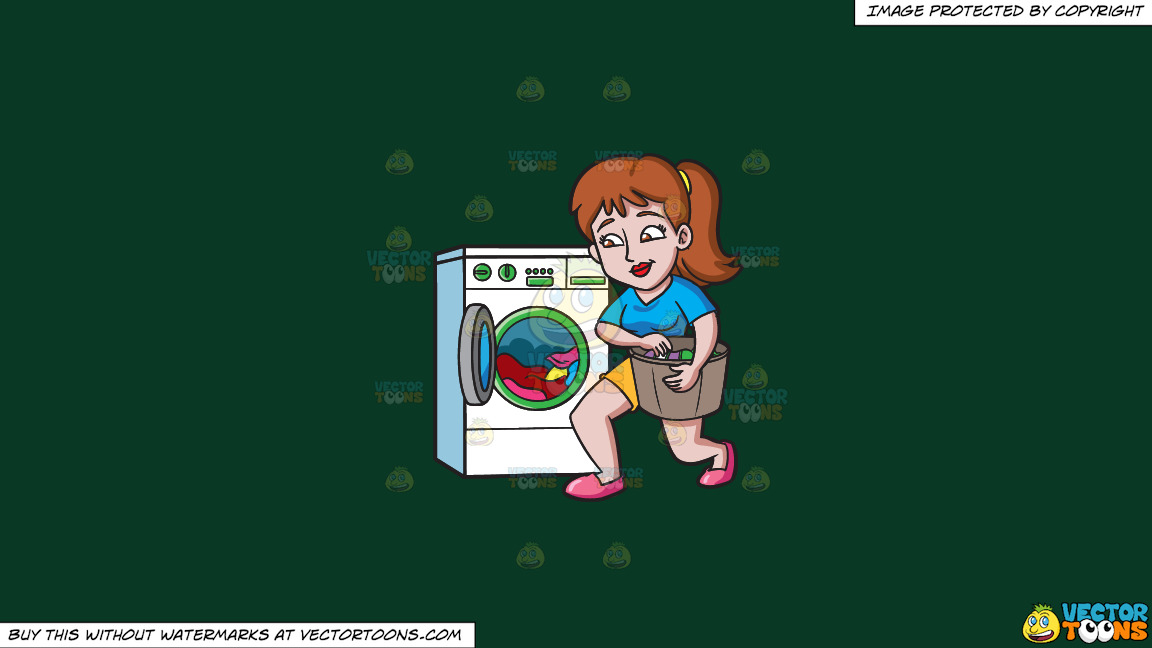A Woman Placing Clothes In The Washing Machine On A Solid Dark Green 093824 Background thumbnail