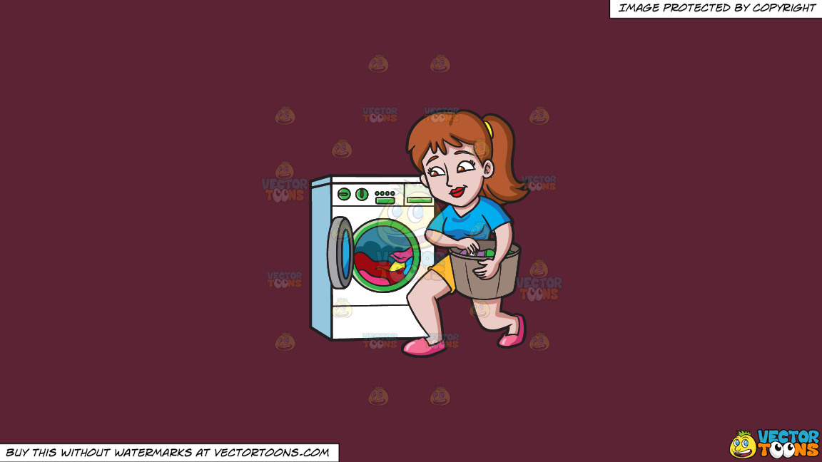 A Woman Placing Clothes In The Washing Machine On A Solid Red Wine 5b2333 Background thumbnail