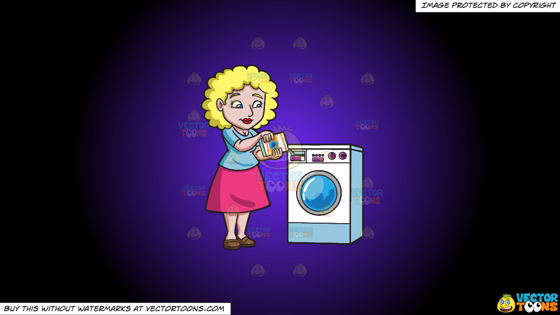 A Woman Placing Some Detergent In The Washer On A Purple And Black Gradient Background thumbnail