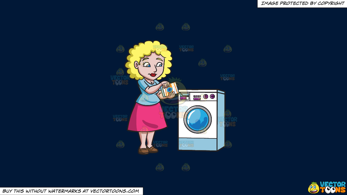 A Woman Placing Some Detergent In The Washer On A Solid Dark Blue 011936 Background thumbnail