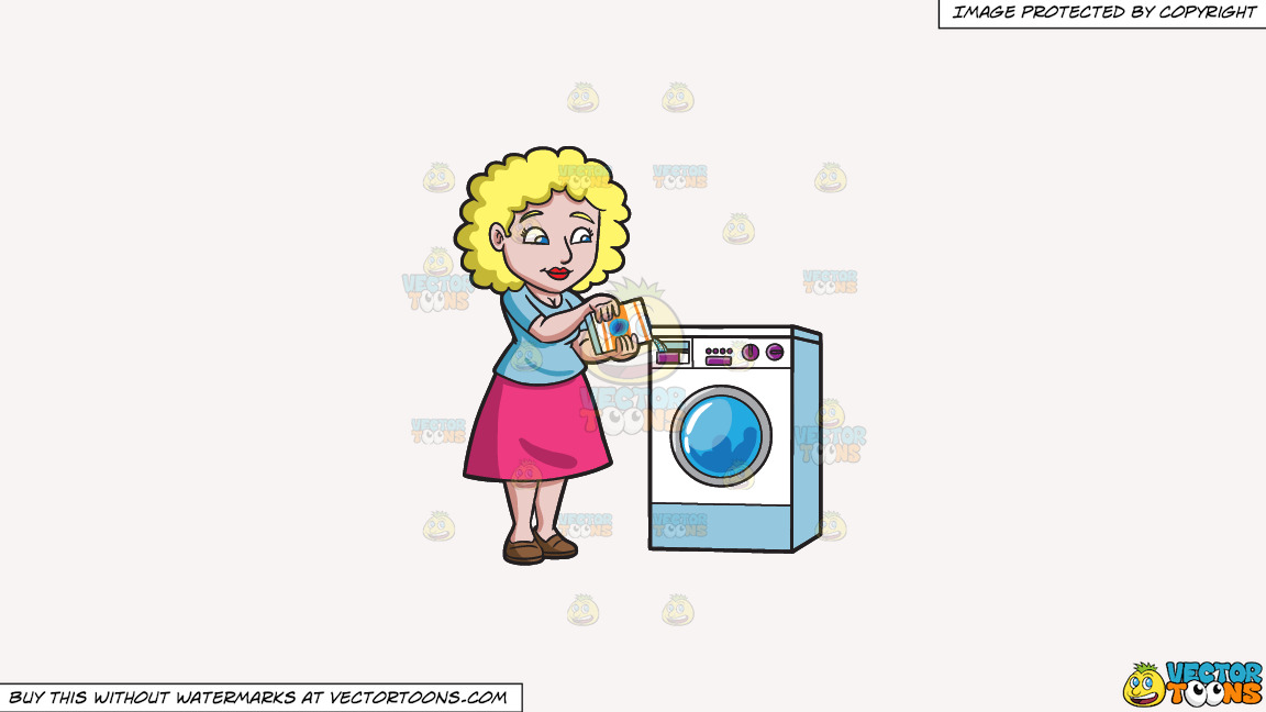A Woman Placing Some Detergent In The Washer On A Solid White Smoke F7f4f3 Background thumbnail