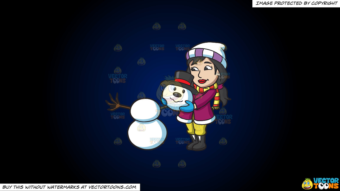 A Woman Placing The Head Of A Snowman On Top Of Two Snowballs On A Dark Blue And Black Gradient Background thumbnail