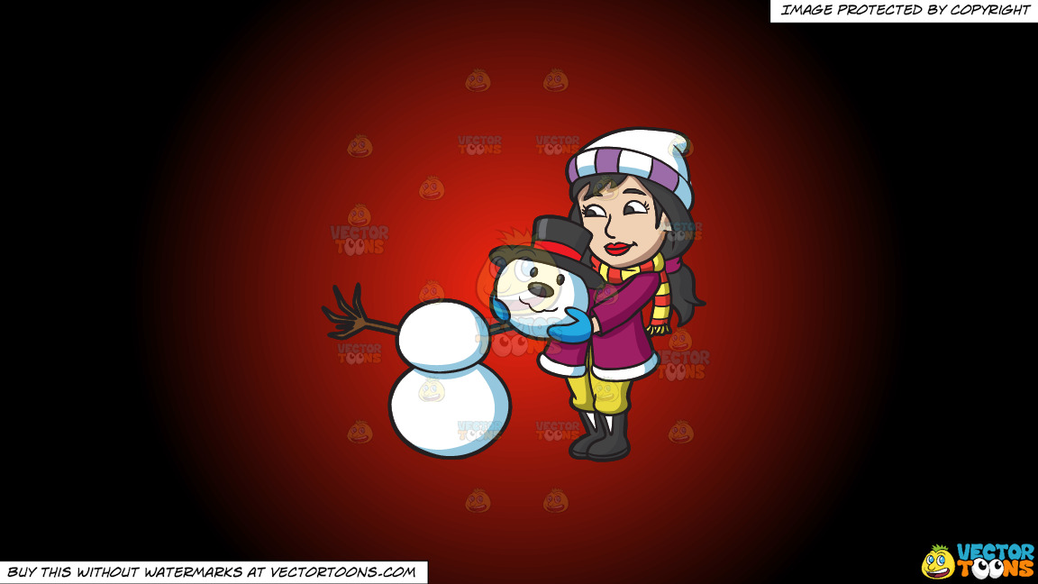 A Woman Placing The Head Of A Snowman On Top Of Two Snowballs On A Red And Black Gradient Background thumbnail