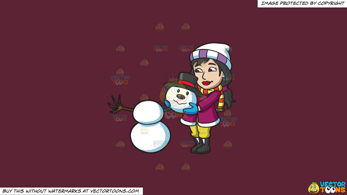 A Woman Placing The Head Of A Snowman On Top Of Two Snowballs On A Solid Red Wine 5b2333 Background thumbnail