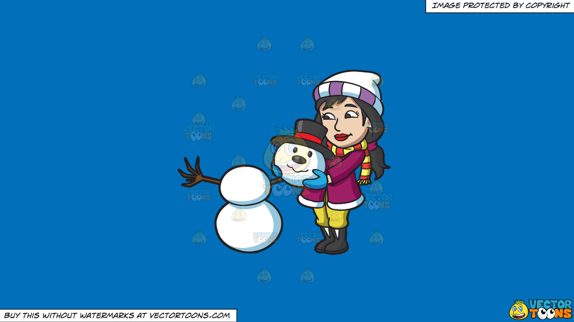 A Woman Placing The Head Of A Snowman On Top Of Two Snowballs On A Solid Spanish Blue 016fb9 Background thumbnail