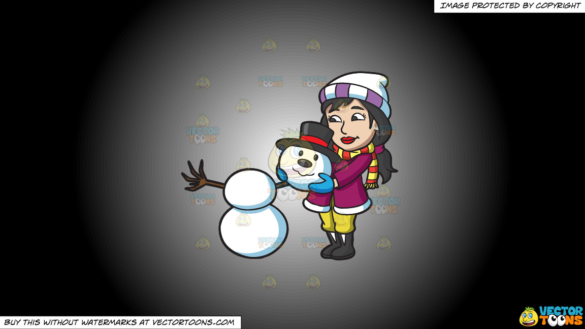 A Woman Placing The Head Of A Snowman On Top Of Two Snowballs On A White And Black Gradient Background thumbnail