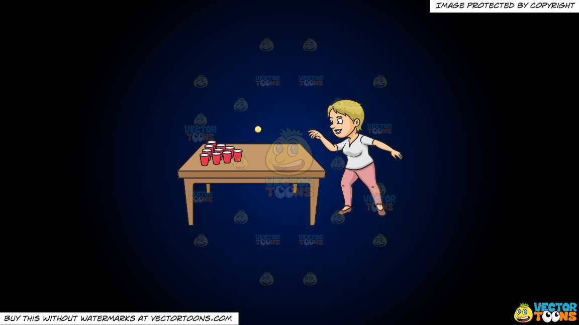 A Woman Playing Beer Pong On A Dark Blue And Black Gradient Background thumbnail