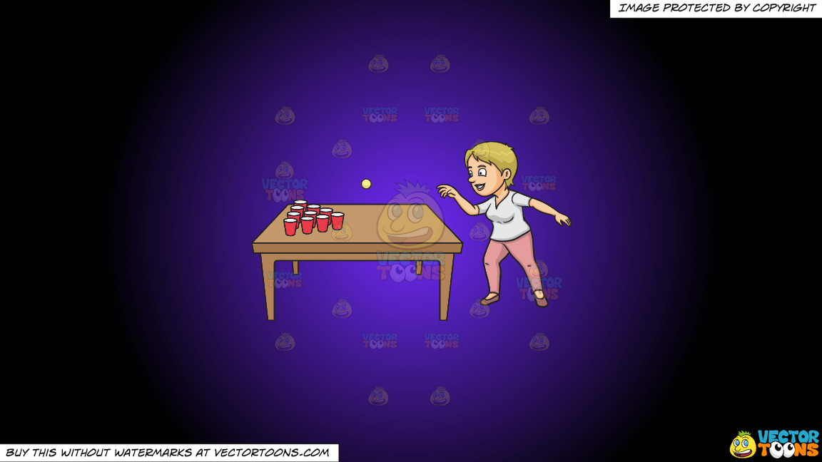 A Woman Playing Beer Pong On A Purple And Black Gradient Background thumbnail