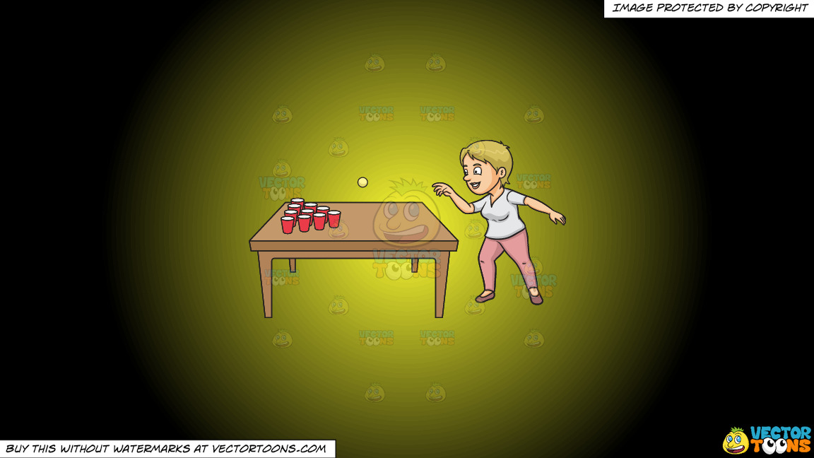 A Woman Playing Beer Pong On A Yellow And Black Gradient Background thumbnail