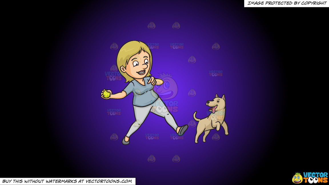 A Woman Playing Fetch With Her Dog On A Purple And Black Gradient Background thumbnail