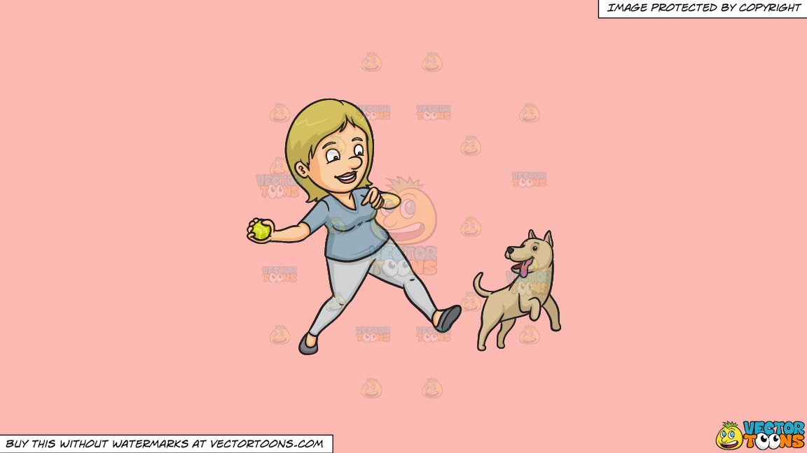 A Woman Playing Fetch With Her Dog On A Solid Melon Fcb9b2 Background thumbnail