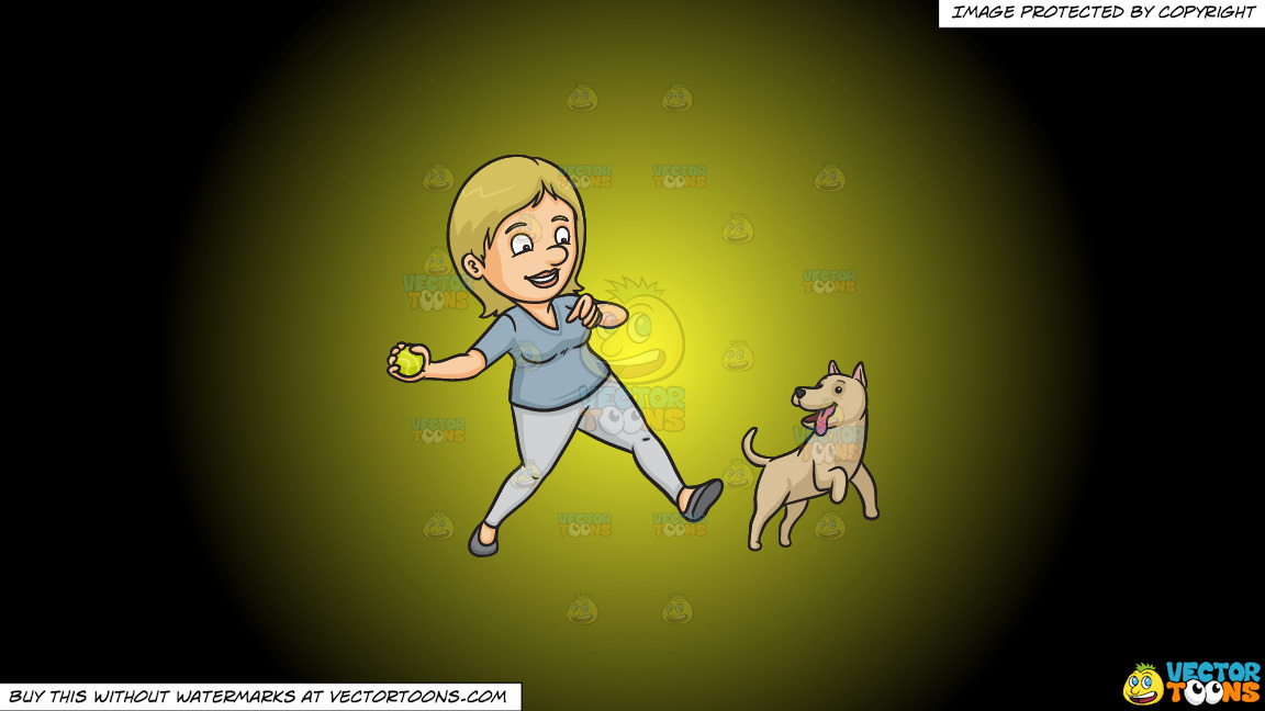 A Woman Playing Fetch With Her Dog On A Yellow And Black Gradient Background thumbnail