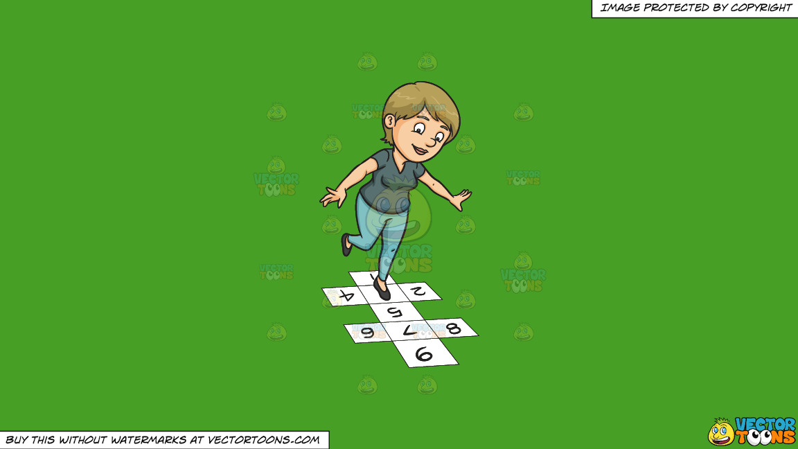 A Woman Playing Hopscotch On A Solid Kelly Green 47a025 Background thumbnail