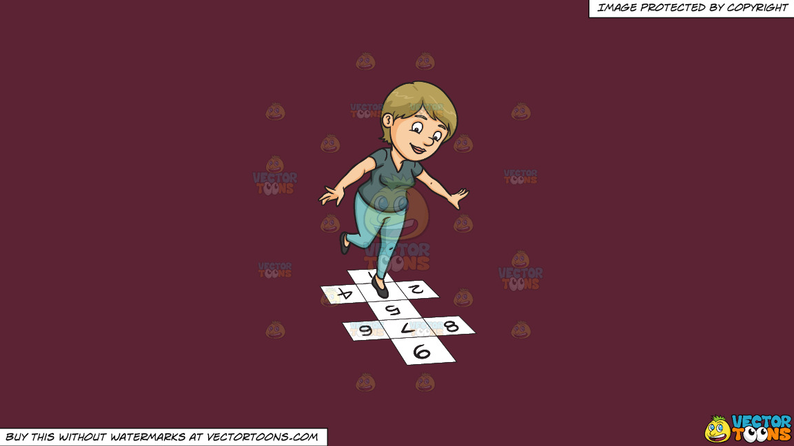 A Woman Playing Hopscotch On A Solid Red Wine 5b2333 Background thumbnail
