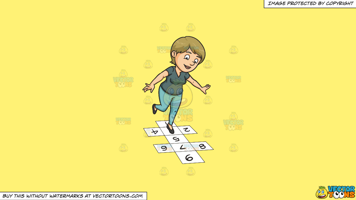 A Woman Playing Hopscotch On A Solid Sunny Yellow Fff275 Background thumbnail