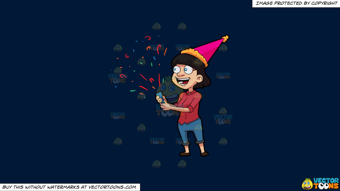 A Woman Popping Confetti On A Solid Dark Blue 011936 Background thumbnail