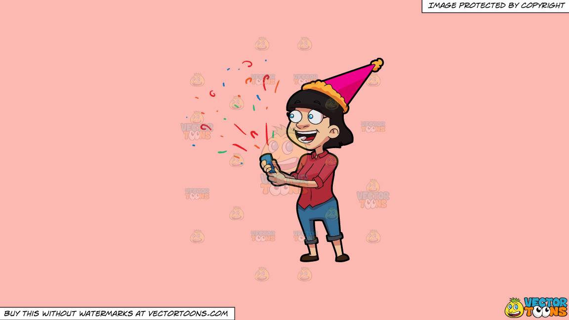 A Woman Popping Confetti On A Solid Melon Fcb9b2 Background thumbnail