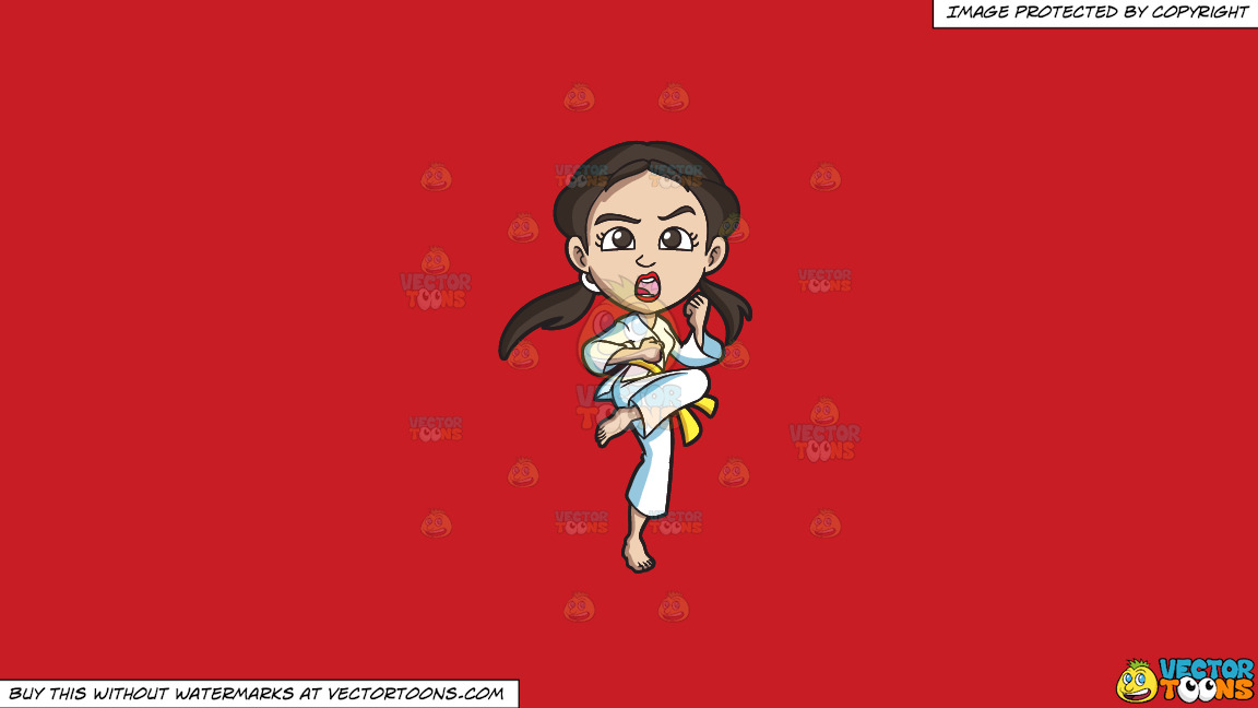 A Woman Practicing Her Stance During A Taekwondo Training On A Solid Fire Engine Red C81d25 Background thumbnail