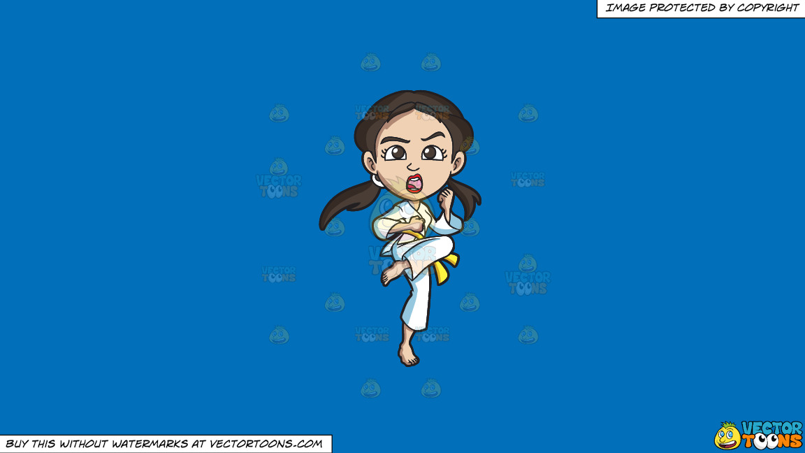 A Woman Practicing Her Stance During A Taekwondo Training On A Solid Spanish Blue 016fb9 Background thumbnail