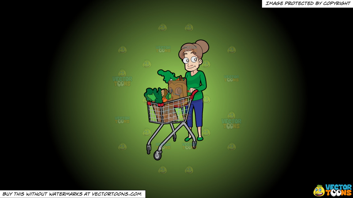 A Woman Pushing A Grocery Cart Full Of Vegetables That She Bought On A Green And Black Gradient Background thumbnail