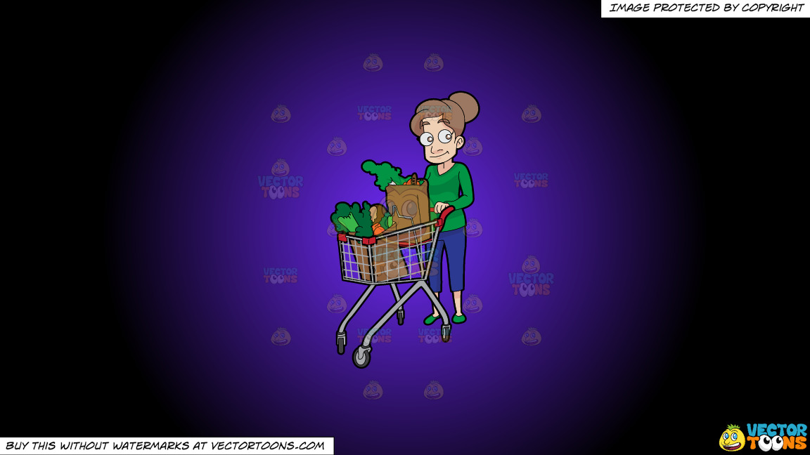 A Woman Pushing A Grocery Cart Full Of Vegetables That She Bought On A Purple And Black Gradient Background thumbnail