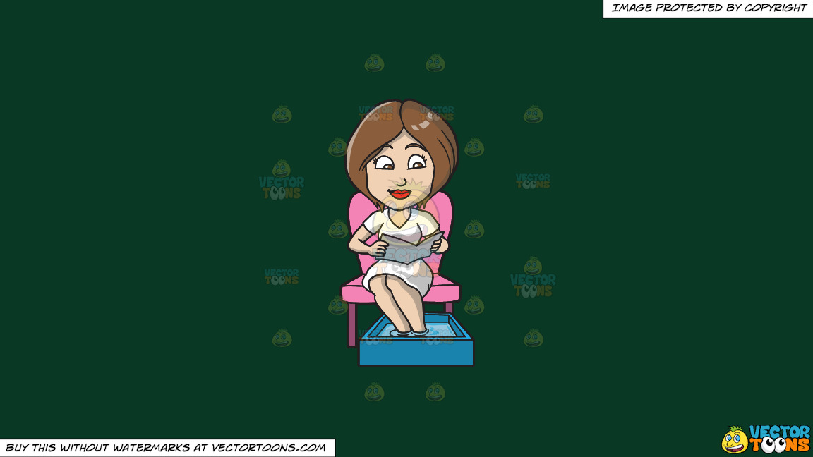 A Woman Reading A Newsletter While Having A Foot Spa On A Solid Dark Green 093824 Background thumbnail