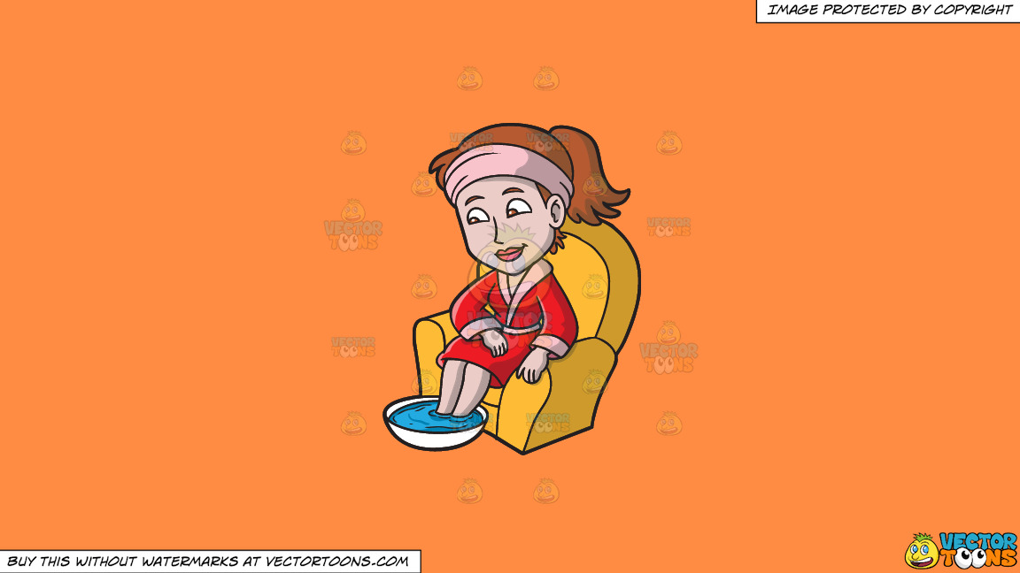 A Woman Relaxes While Having A Foot Soak On A Solid Mango Orange Ff8c42 Background thumbnail
