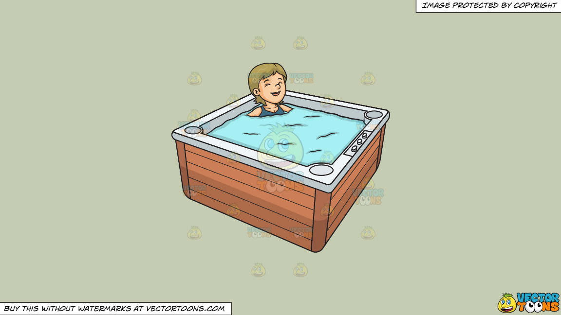 A Woman Relaxing In A Hot Tub On A Solid Pale Silver C6ccb2 Background thumbnail