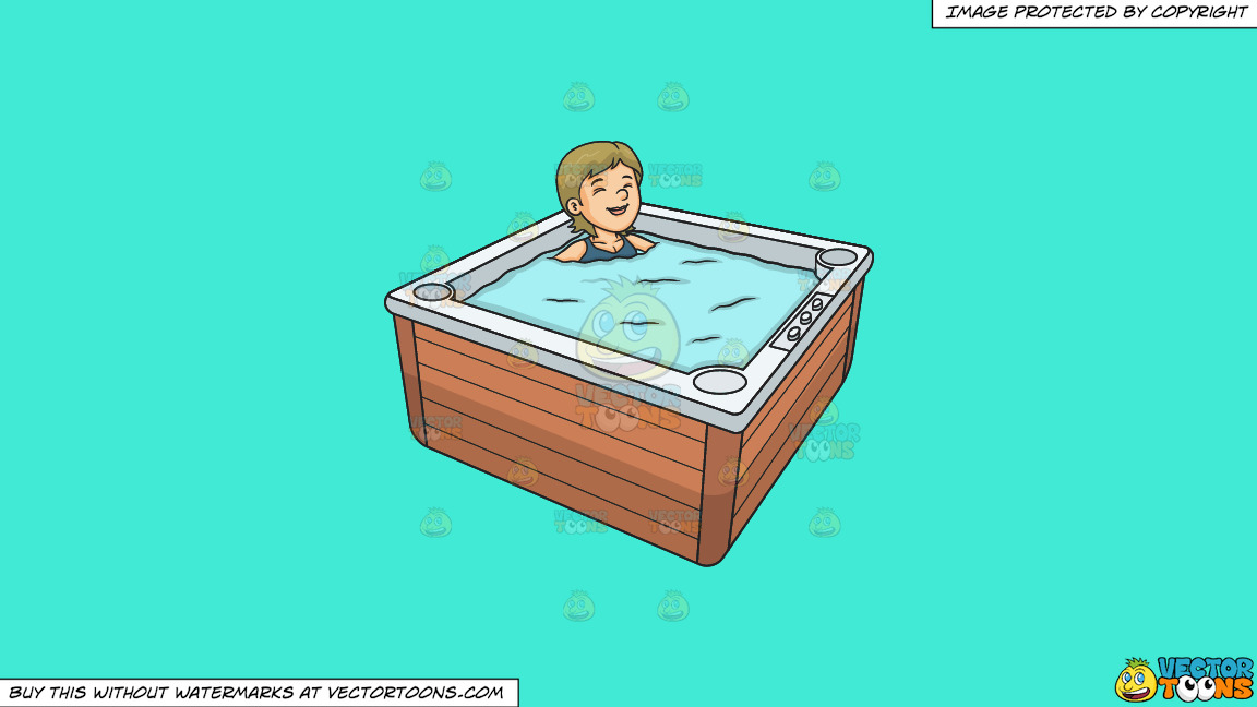 A Woman Relaxing In A Hot Tub On A Solid Turquiose 41ead4 Background thumbnail