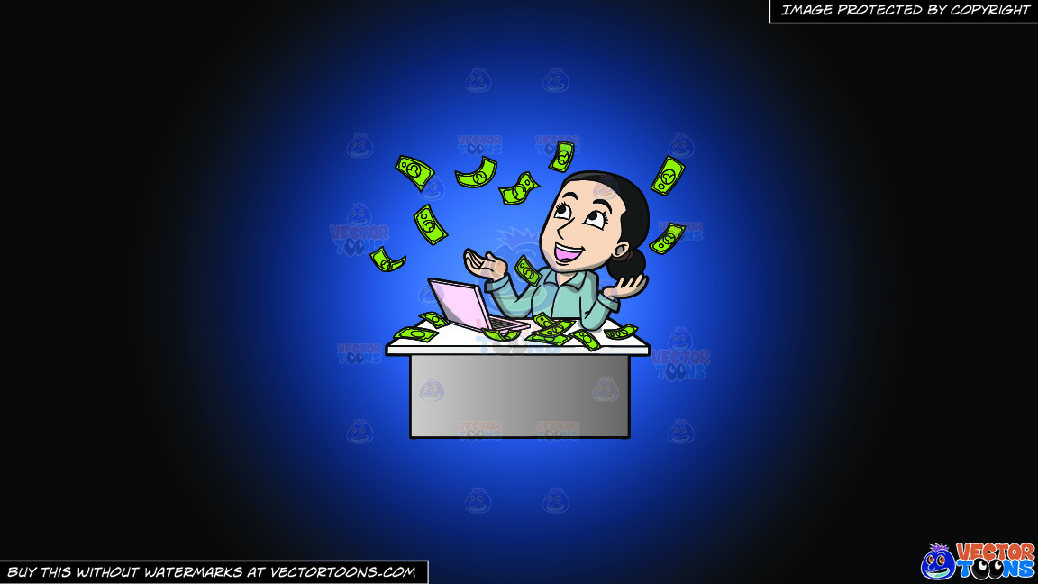 A Woman Reveling In The Money Raining Down On Her On A Blue And Black Gradient Background thumbnail