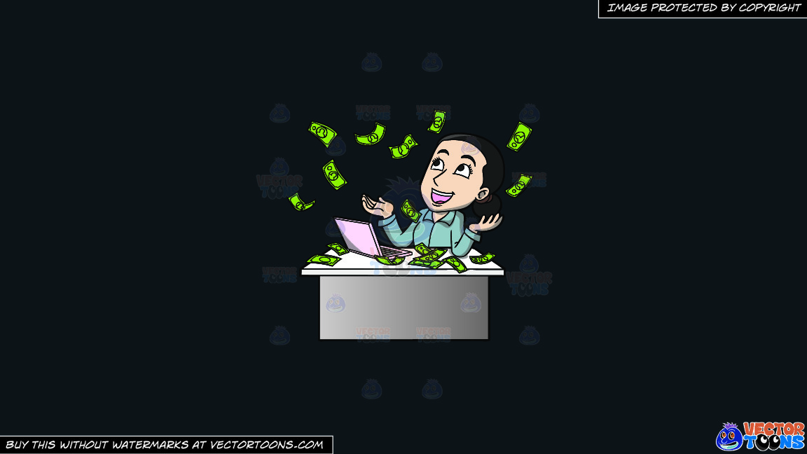 A Woman Reveling In The Money Raining Down On Her On A Solid Off Black 0f1a20 Background thumbnail