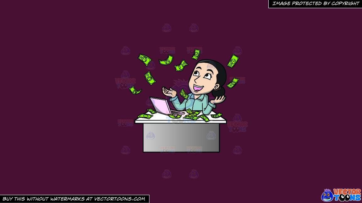 A Woman Reveling In The Money Raining Down On Her On A Solid Red Wine 5b2333 Background thumbnail