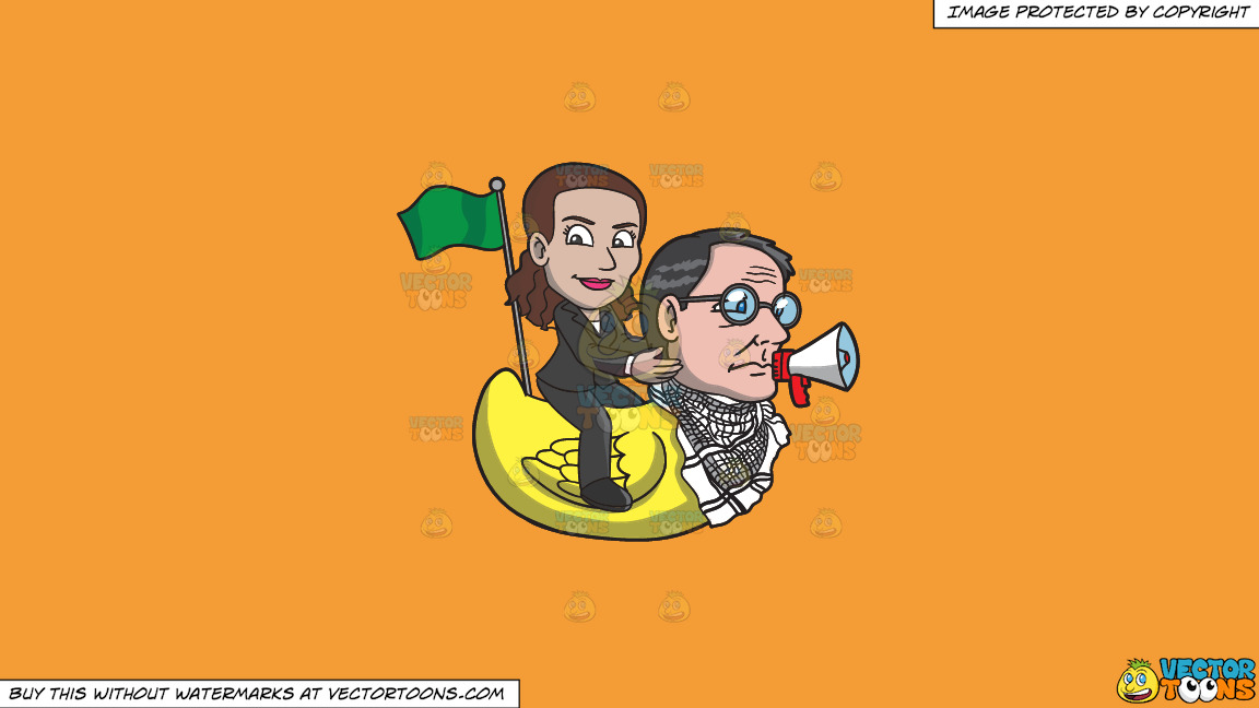 A Woman Riding A Rubber Duck That Has The Head Of A Man On A Solid Deep Saffron Gold F49d37 Background thumbnail