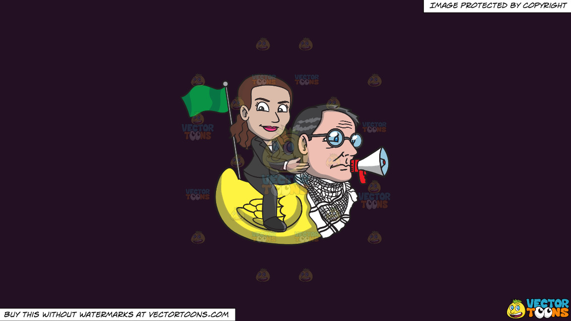 A Woman Riding A Rubber Duck That Has The Head Of A Man On A Solid Purple Rasin 241023 Background thumbnail