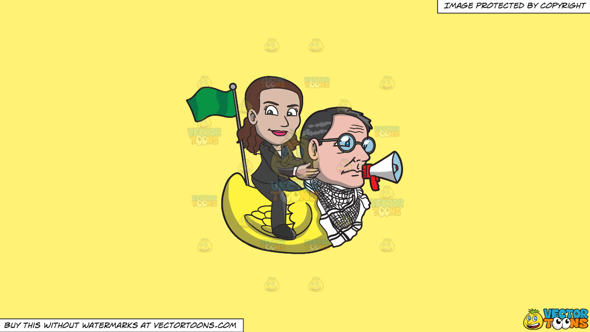 A Woman Riding A Rubber Duck That Has The Head Of A Man On A Solid Sunny Yellow Fff275 Background thumbnail