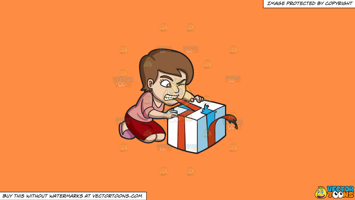 A Woman Ripping Off The Ribbon Of Her Gift With Her Teeth On A Solid Mango Orange Ff8c42 Background thumbnail
