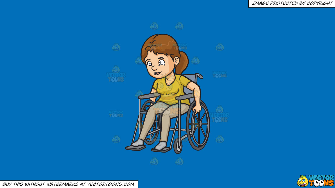 A Woman Rolling Her Wheelchair Forward On A Solid Spanish Blue 016fb9 Background thumbnail