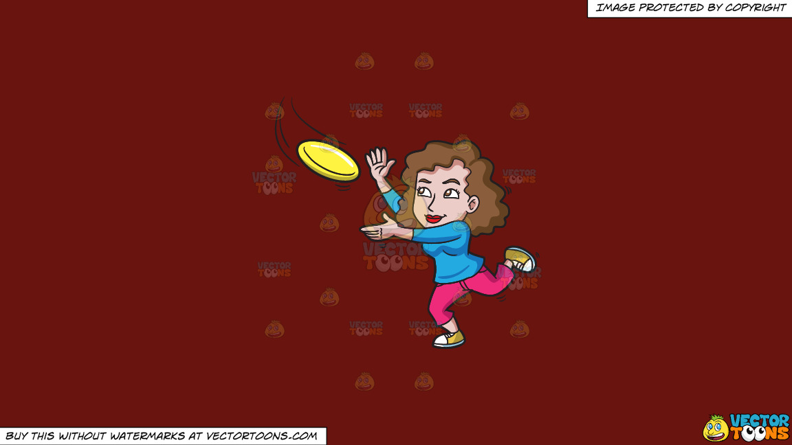 A Woman Runs To Catch A Flying Disc On A Solid Maroon 69140e Background thumbnail
