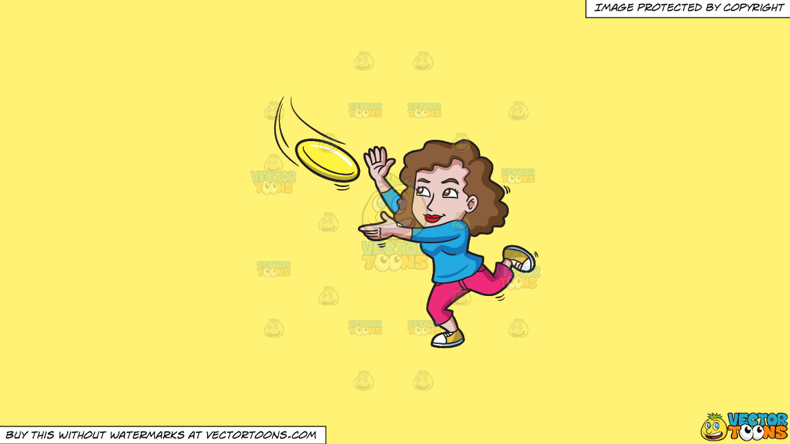 A Woman Runs To Catch A Flying Disc On A Solid Sunny Yellow Fff275 Background thumbnail