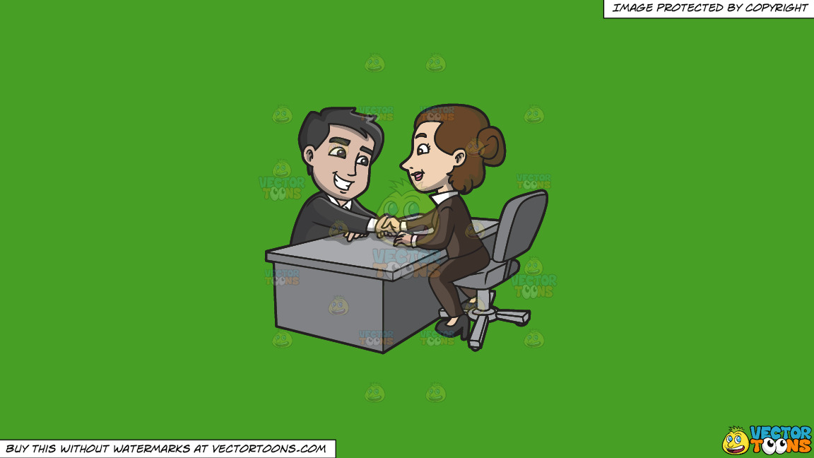 A Woman Shaking The Hand Of Her Newly Hired Male Employee On A Solid Kelly Green 47a025 Background thumbnail