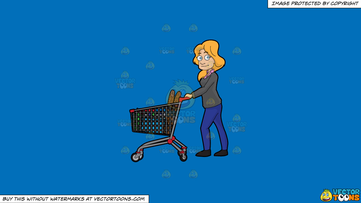 A Woman Shopping For Food In The Grocery Store On A Solid Spanish Blue 016fb9 Background thumbnail