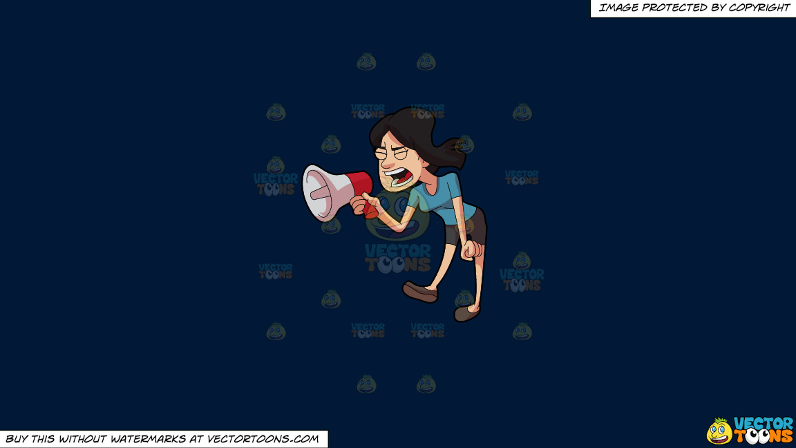 A Woman Shouting Angrily Using A Megaphone On A Solid Dark Blue 011936 Background thumbnail