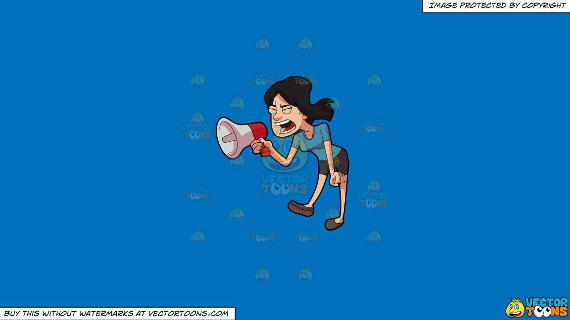 A Woman Shouting Angrily Using A Megaphone On A Solid Spanish Blue 016fb9 Background thumbnail