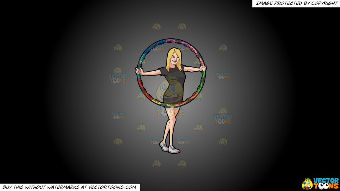 A Woman Showing A Colorful Hoop On A Grey And Black Gradient Background thumbnail