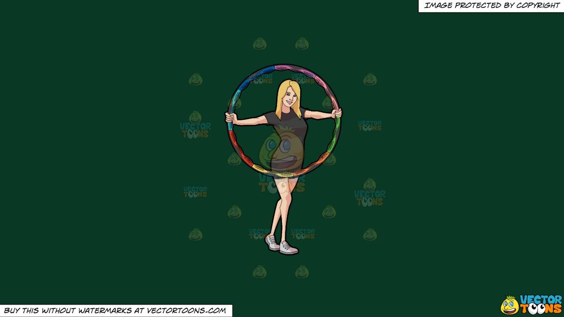 A Woman Showing A Colorful Hoop On A Solid Dark Green 093824 Background thumbnail