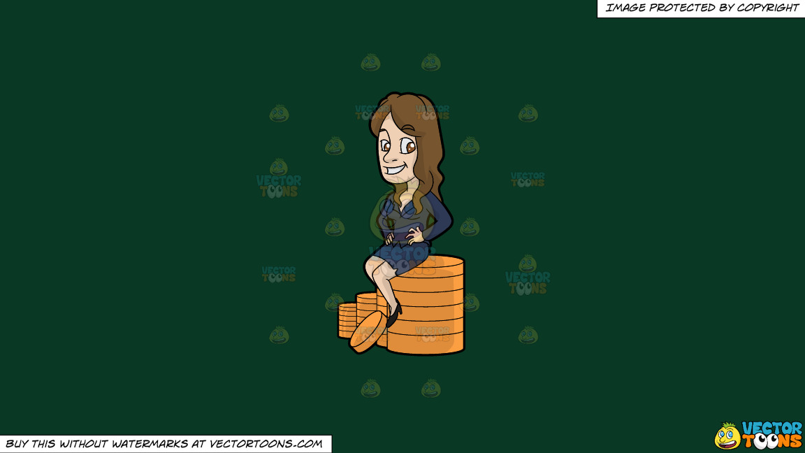 A Woman Sitting On Top Of A Stack Of Gold Coins On A Solid Dark Green 093824 Background thumbnail